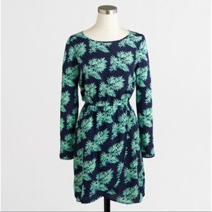 J.Crew Blue Green Leaf Print Long Sleeve Dress